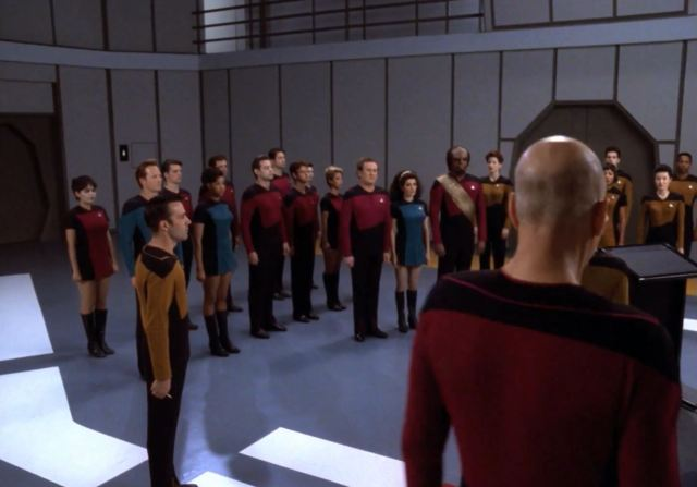 Star Trek TNG Season 7 Blu-Ray Trailer - All Good Things crew in skant uniform
