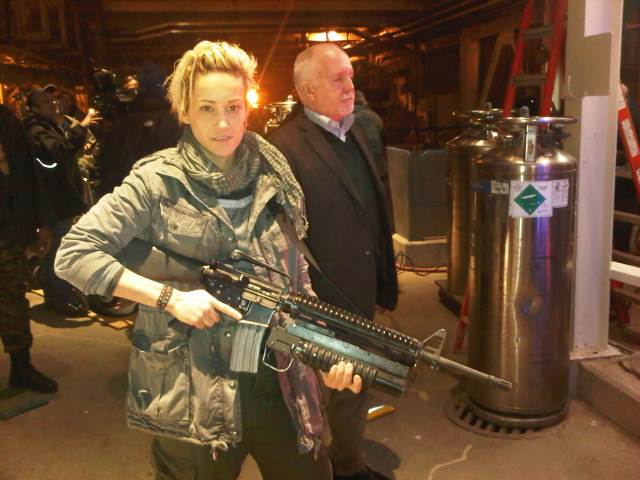 Luvia Petersen on set of Continuum William Shatner joins Haven