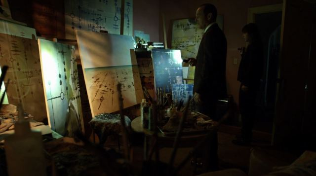 Phil Coulson (Clark Gregg) and Skye (Chloe Bennet) uncover more alien drawings - Agents of SHIELD The Writing on the Wall Review