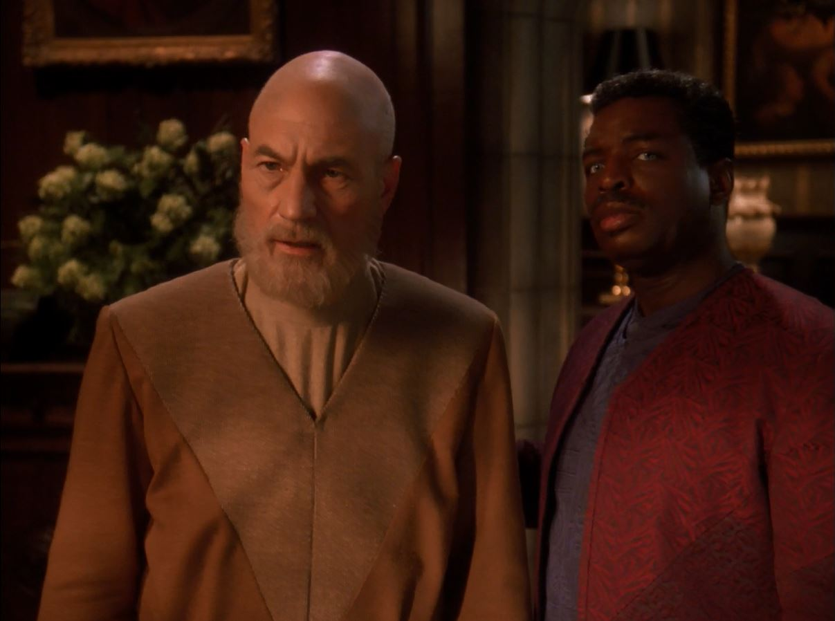 Star Trek TNG Season 7 Blu-ray Review. Patrick Steward as Jean-Luc Picard with Levar Burton as Geordi