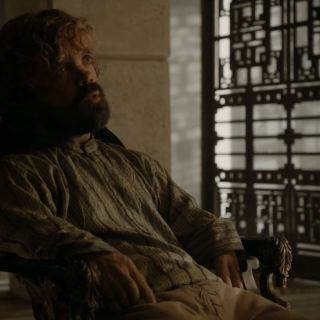 Peter Dinklage as Tyrion Lannister talking to Daenarys. Game of Thrones S5Ep8 Hardhome Review.