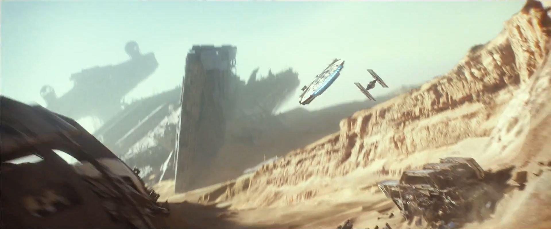 Millennium Falcon being chased on Jakku
