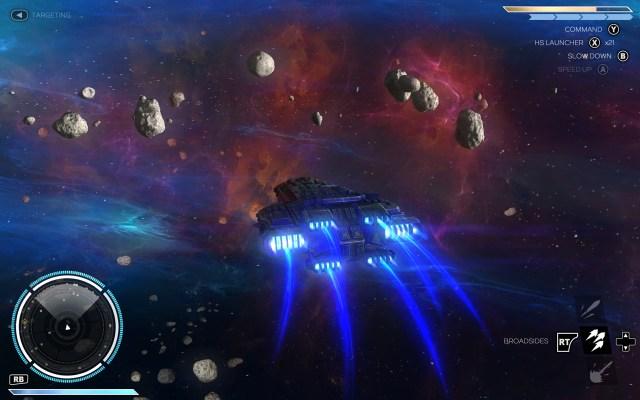 Rebel Galaxy flying through a nebulae