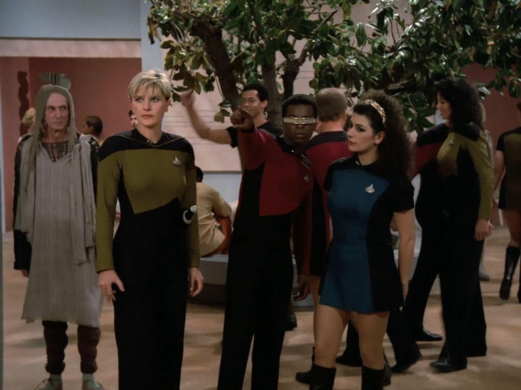 Star Trek The Next Generation A gentle Encounter Before Farpoint Deanna Troi wearing skirt uniform