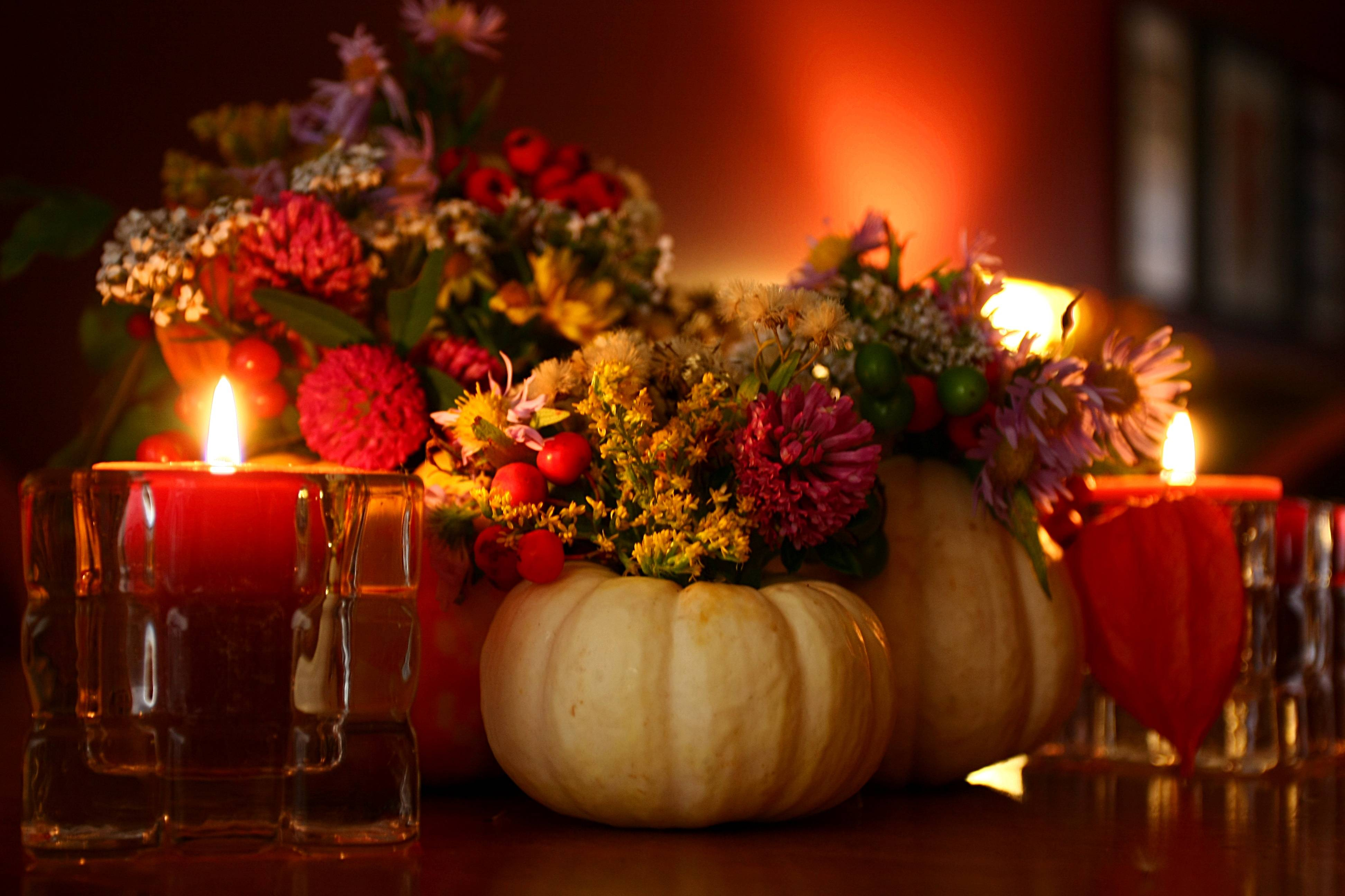 Thanksgiving with candles