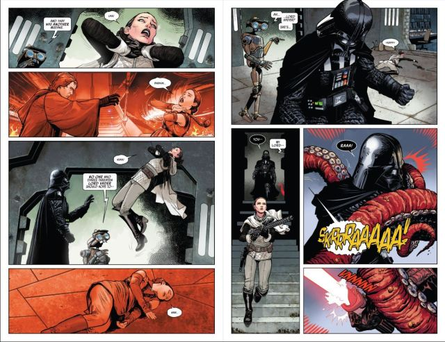 Review Issue 2 Star Wars Darth Vader (2020) - Vader strangling Padme and Sabe