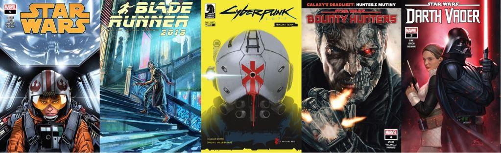 Summer 2020 comic covers Star Wars Cyberpunk 2077 Bounty Hunters Darth Vader Blade Runner 2019