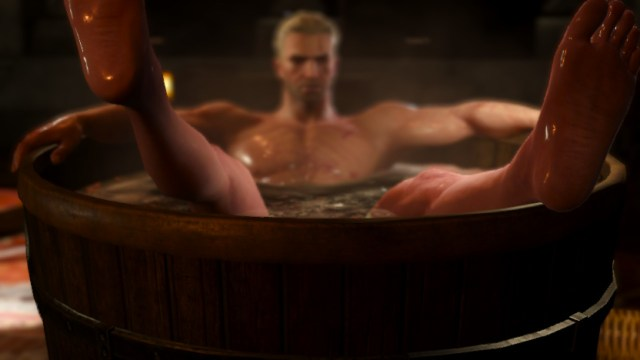 The Witcher 3 on Nintendo Switch Geralt in a bathtub
