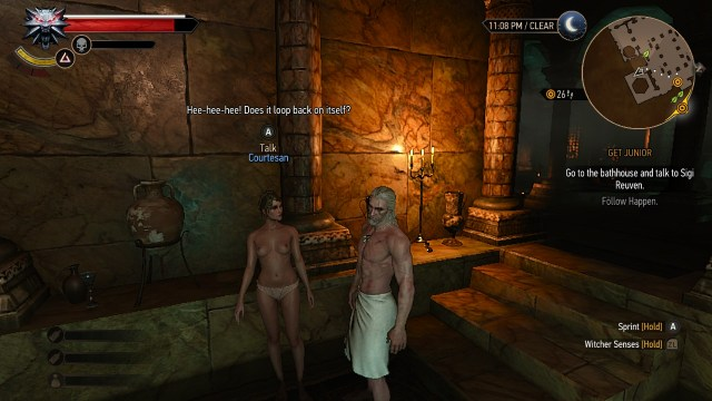 The Witcher 3 on Nintendo Switch topless bathhouse