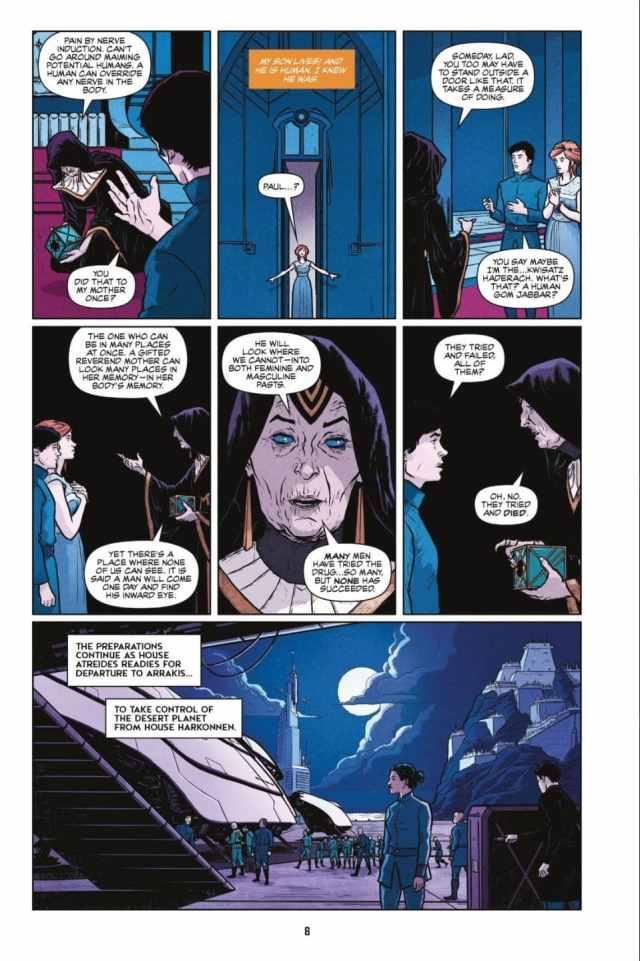 DUNE The Graphic Novel Paul undergoing the Gom Jabbar
