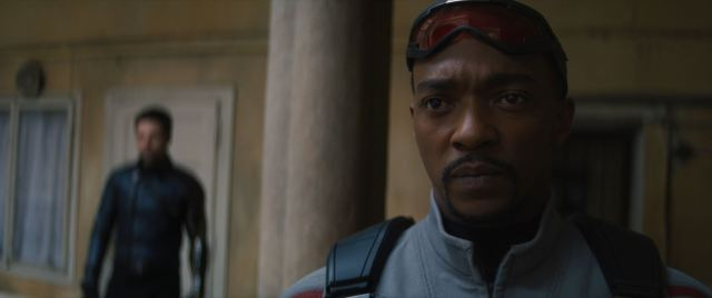 Sam Wilson confronts Karli Morgenthau in The Falcon and the Winter Soldier