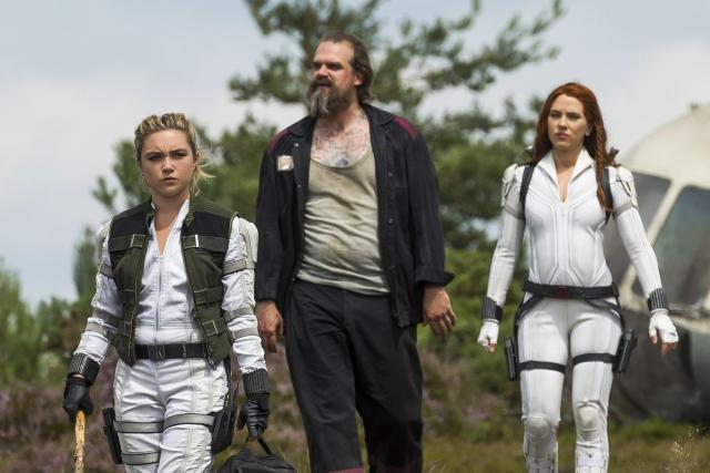 Florence Pugh David Harbour and Scarlett Johansson on Black Widow