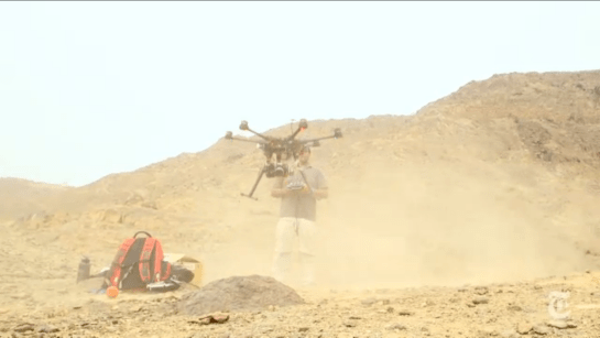 Peruvian archaeologists command a drone to search for architectural ruins. (New York Times)