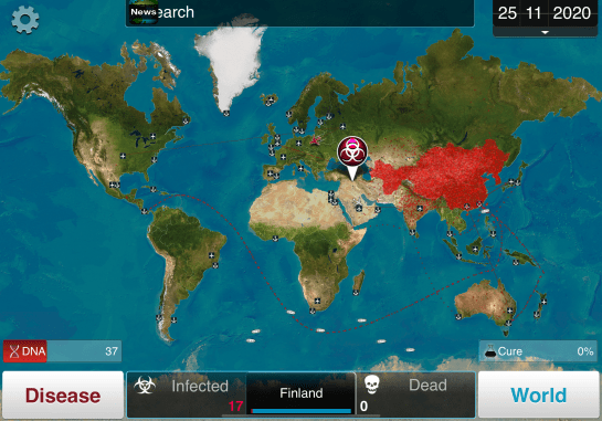 A screen grab of the game Plague, Inc., about 1/3 of the way through a game.