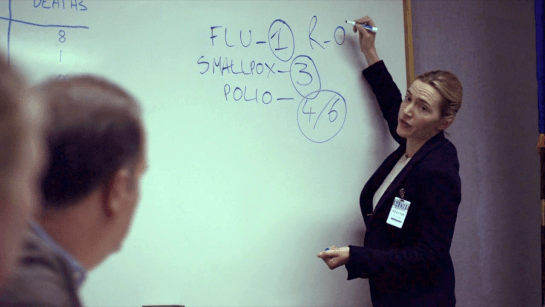 A screen gran from Contagion (2011) showing Dr. Erin Mears standing before a white board, explaining to the people in the room what R-naught is.
