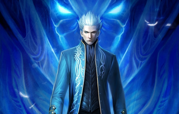 I'm the old Vergil. I'm half-demon which is soooooo much cooler than being human. Humans suck, and I want to make all their skins into lampshades. Demons rule & humans drool!