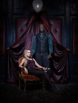 MIDNIGHT, TEXAS -- Season: 1 -- Pictured: (l-r) Arielle Kebbel as Olivia, Peter Mensah as Lemuel -- (Photo by: Virginia Sherwood/NBC)