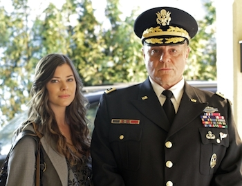 """""""Ambush"""" -- Peyton List as Lucy Lane and  Michael Ironside as General Lane in SMALLVILLE, on The CW Network.  Photo: Michael Courtney/The CW  ©2010 The CW Network, LLC. All Rights Reserved."""