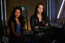 """DARK MATTER -- """"But First, We Save the Galaxy"""" Episode 213 -- Pictured: (l-r) Melanie Liburd as Nyx, Melissa O'Neil as Two -- (Photo by: Russ Martin/Prodigy Pictures/Syfy)"""
