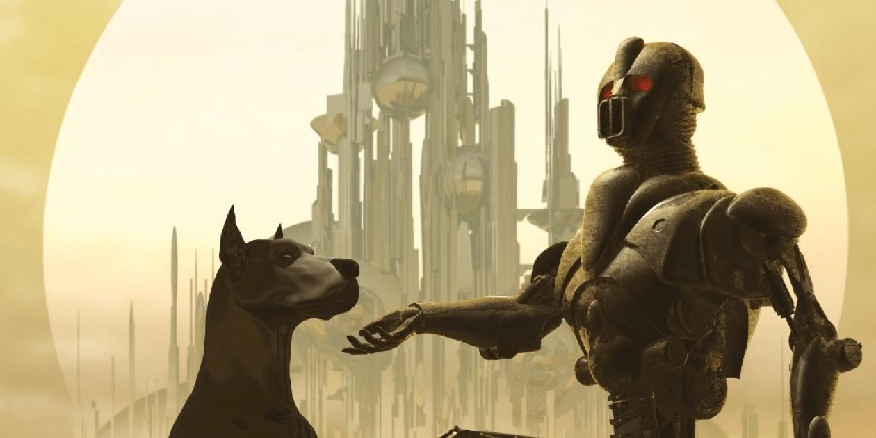 Robot knæler foran hund på forsiden af coveret til Clifford D. Simaks bog City