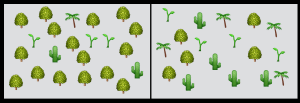 Both of these boxes have the same number of emoji plants species, but the one on the left has lots of one species and only a few of the others. The box on the right have a more even amount of each species, so it has higher diversity.