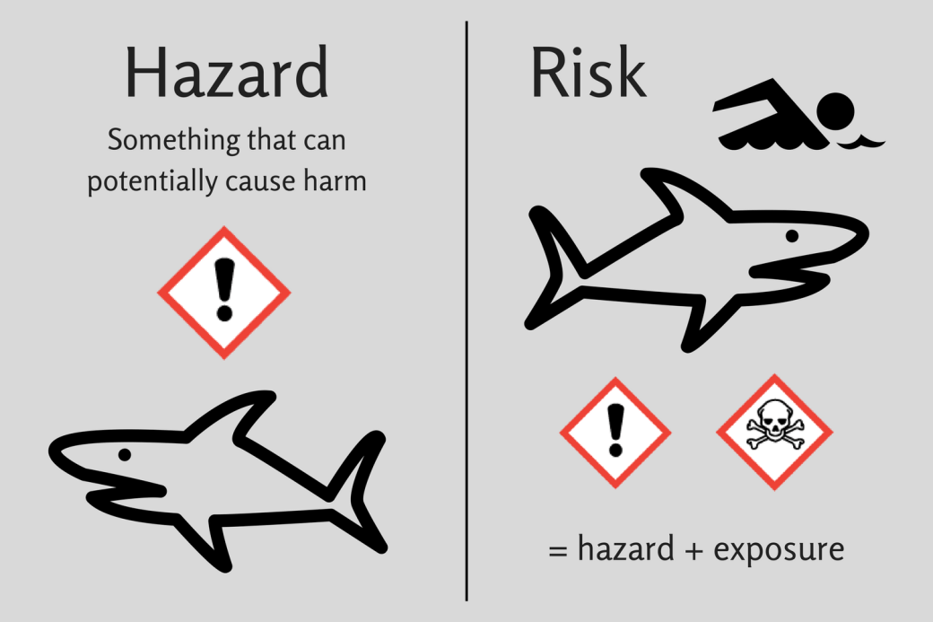 Simple infographic. On the left is hazard, something that can potentially cause harm, with a drawing of a shark. On the right is risk = hazard + exposure with a drawing of a shark approaching a drawing of a swimmer.