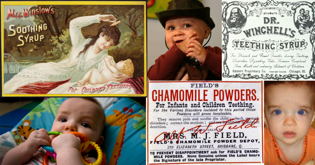 Collage made up of three antique advertisements for teething remedies and three images of teething babies, one chewing on plastic rings, one chewing on his hand, and one wearing an amber necklace.
