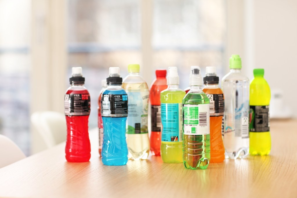 bottles of colored sports drinks