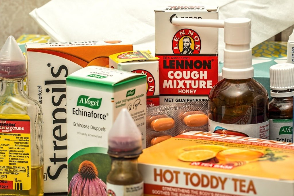 various cold remedies including echinacea and cough syrup