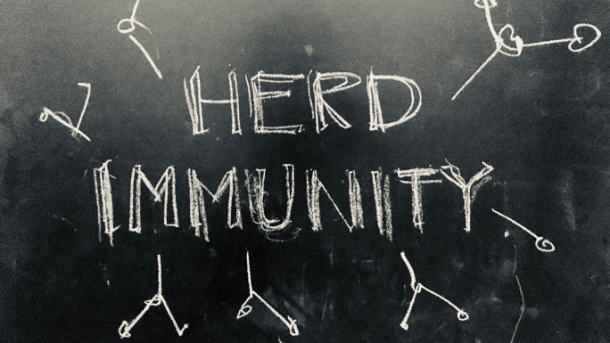 Herd immunity written on chalkboard