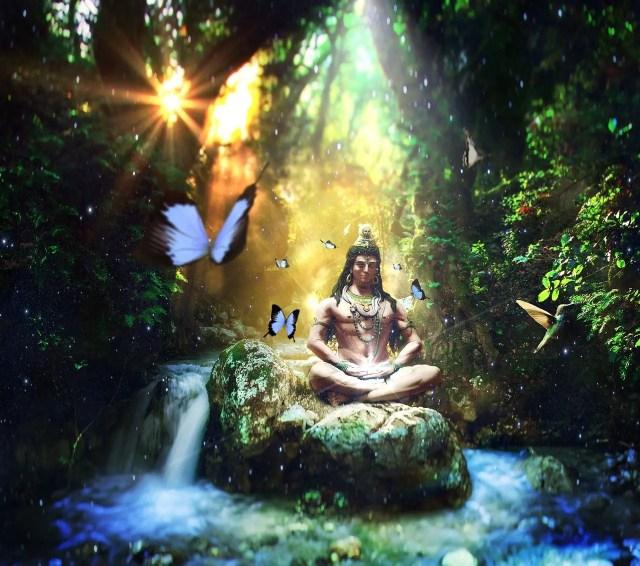 lord shiva doing meditation and mindfulness and positive affirmation meditation