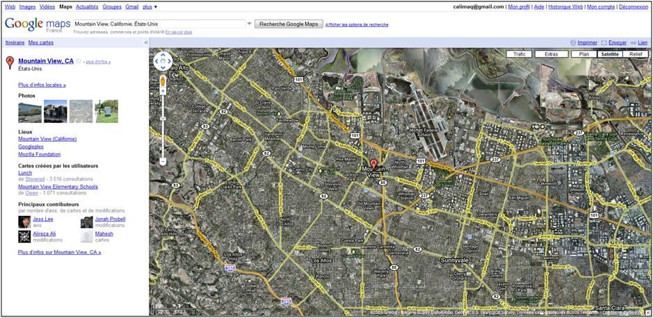 Le site de Mountain View aux Etats-Unis, siège de Google Inc, tel que nous le montre Google Maps.
