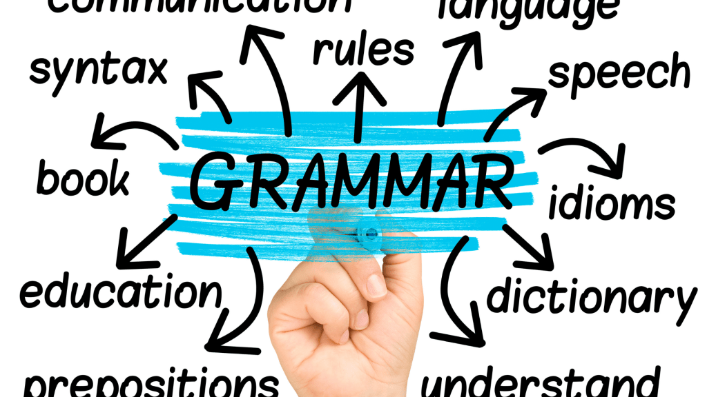 """and writing the word """"grammar"""" in the center with arrows and words like """"rules,"""" """"syntax,"""" and """"prepositions"""" coming off it."""