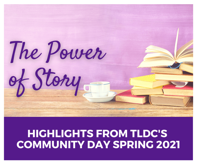 The Power of Story: Highlights from TLDC's Community Day Spring 2021. Stack of books and a mug on a desk.