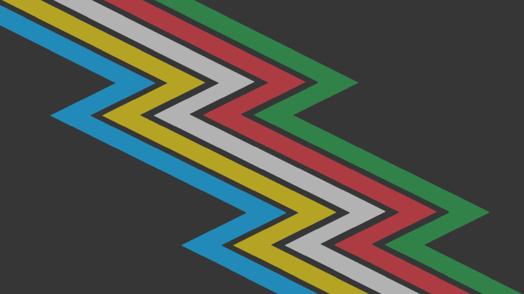 Disability Pride flag, which is a lightning bolt made up of green, red, white, yellow, and blue bands over a black background.