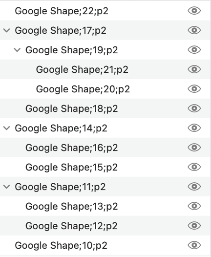 selection pane in PowerPoint showing multiple Google Shapes, some of them grouped
