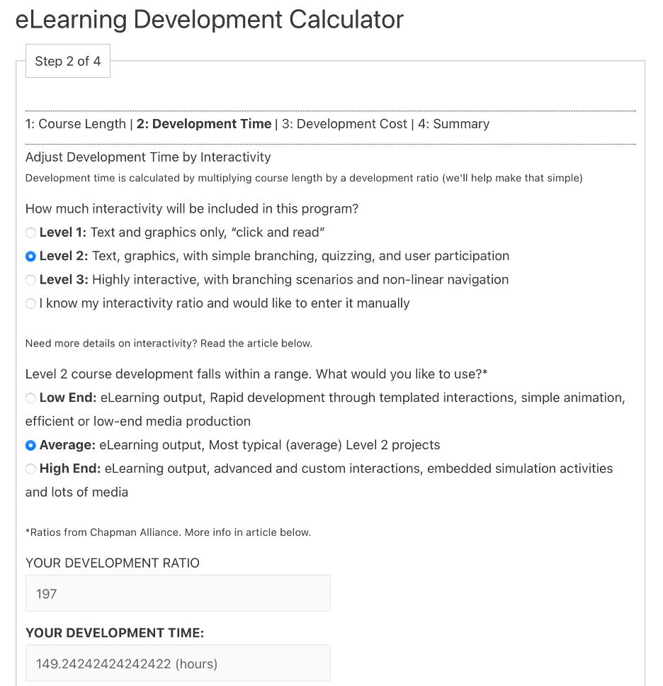 eLearning Development Calculator screenshot for step 2: Development Time