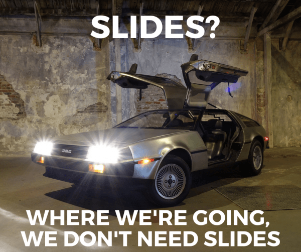DeLorean (car from Back to the Future) with the caption,