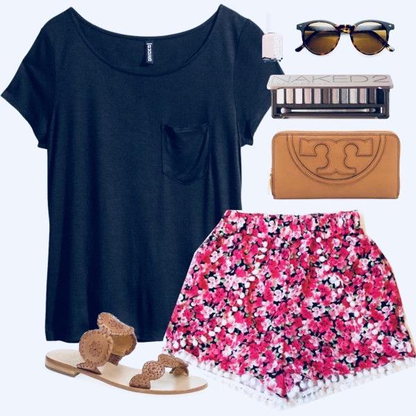black tee and shorts