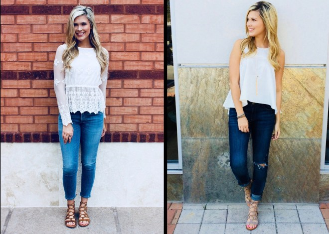 cuff jeans and sandals
