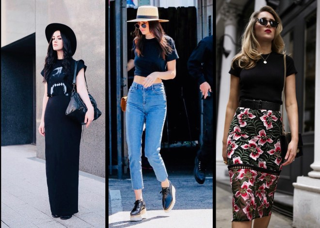 black t-shirt outfit ideas