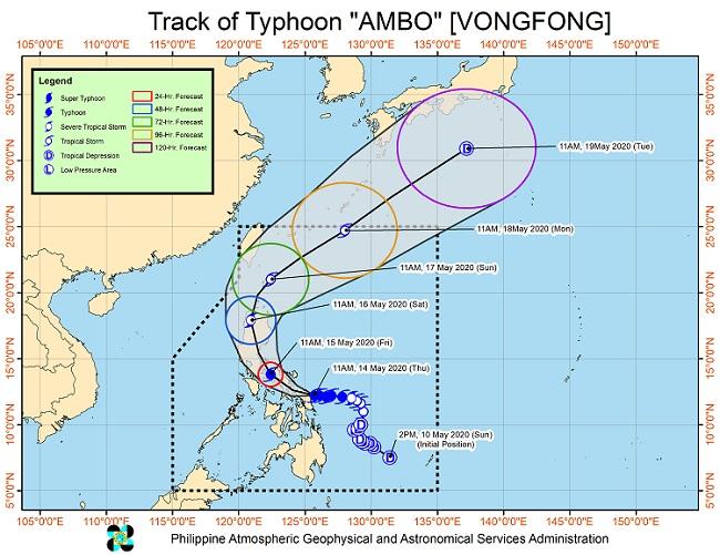 "DOST, PAGASA, Typhoon ""Ambo"", severe weather, rains, landfall, San Policarpio, Eastern Samar"