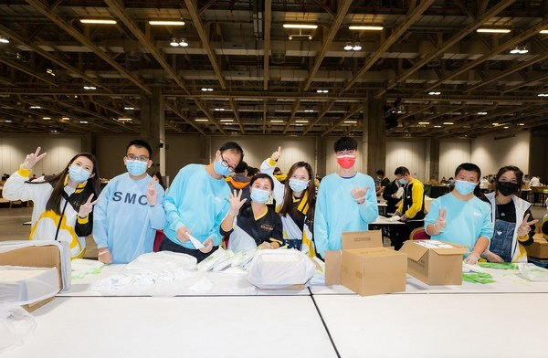Volunteers from Sands China and local community groups build hygiene kits at The Venetian Macao Dec. 4 for the Clean the World.
