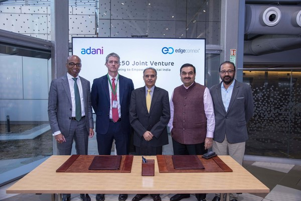 (Left to Right) Jeyakumar Janakaraj, CEO, AdaniConneX; Edmund Wilson, COO & Co-Founder, EdgeConneX; Anil Sardana, MD & CEO, ATL, MD - Thermal Power; Gautam Adani, Chairman, Adani Group; Sudipta Bhattacharya, CEO, Adani Group North America, and CTO, Adani Group