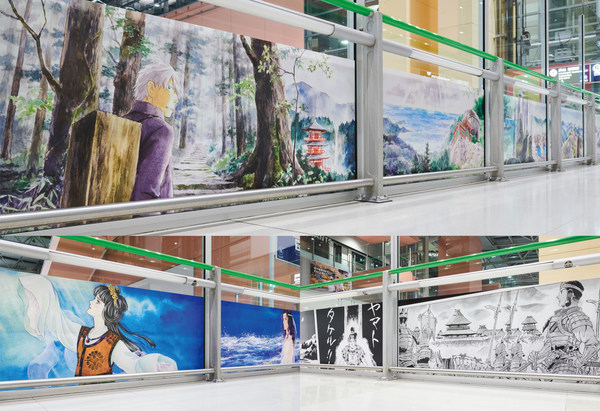 """The Pilgrimage Route"" by URUSHIHARA Yuki (above), ""The Sea Route"" by SATONAKA Machiko (left bottom), ""The Mythology Route"" by YASUHIKO Yoshikazu (right bottom)"