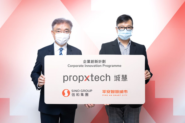 Mr Andrew Young, Associate Director (Innovation) of Sino Group (left) and Mr Philip Kong, Head of Operations of PropXTech (right) announced the finalists of 'PropXTech' corporate innovation programme to drive the development of the Property-Technology industry together