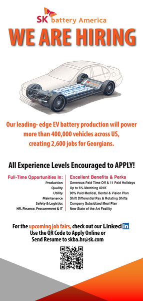 Recruitment advertisement conducted by SK Battery America, where two battery plants are under construction in Georgia, U.S.