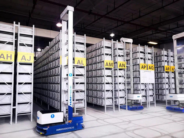 A HAIPICK robot in operation in a warehouse.