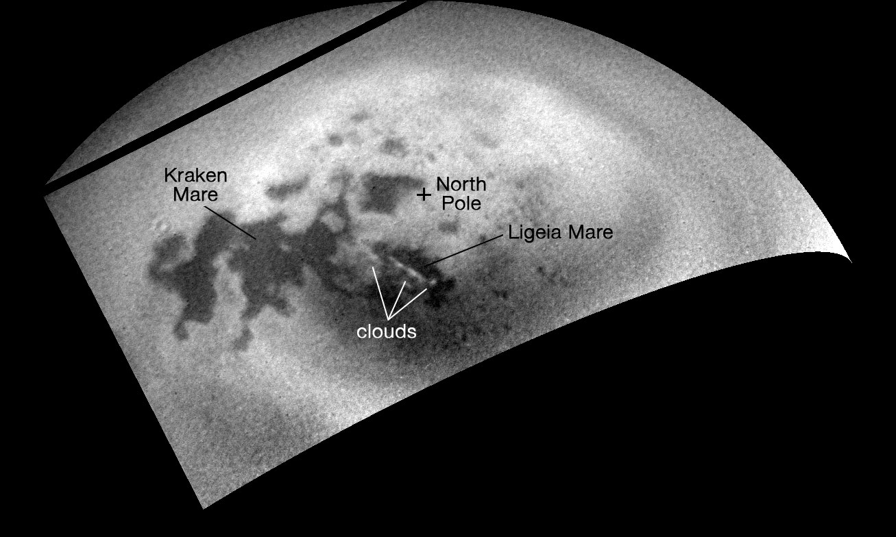 Cassini Tracks Clouds Developing Over Ligeia Mare On Titan