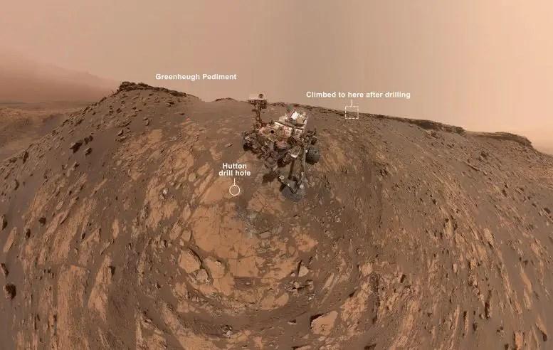 Curiosity Selfie Hutton Drill Site Annotated
